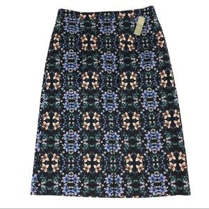 J Crew Black Mirrored Floral A-line Skirt Size 10